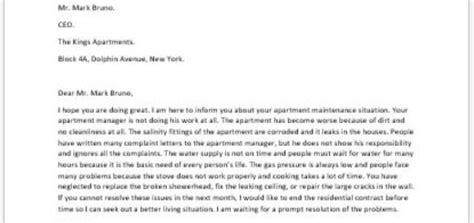 Complaint Letter Apartment Manager complaint letter to apartment manager writeletter2
