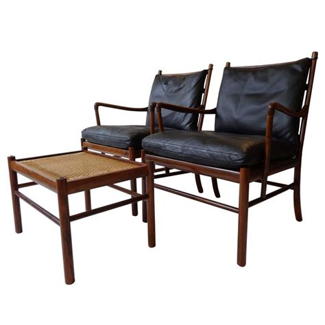 colonial chair and ottoman colonial pj149 armchairs and ottoman in rosewood by o