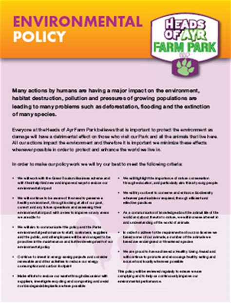environmental policy design heads of ayr farm park environmental policy