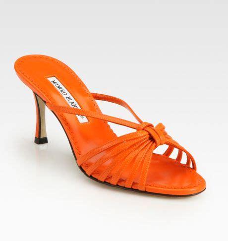 orange strappy sandals manolo blahnik strappy leather sandals in orange lyst