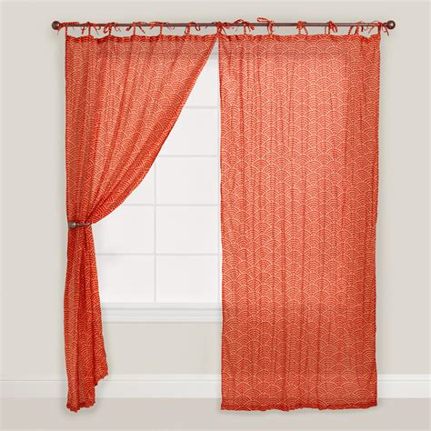 Red Japanese Wave Print Curtain World Market