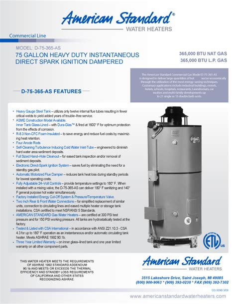 75 gallon commercial water heater d 75 365 as american standard 75 gallon heavy duty storage