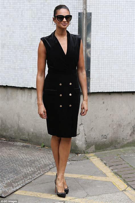 Alesha Dress Set alesha dixon wears chic plunging tuxedo dress after