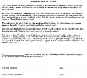 part time child care contract template