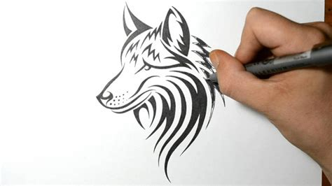 how to draw a tribal tattoo design how to draw a wolf tribal design style