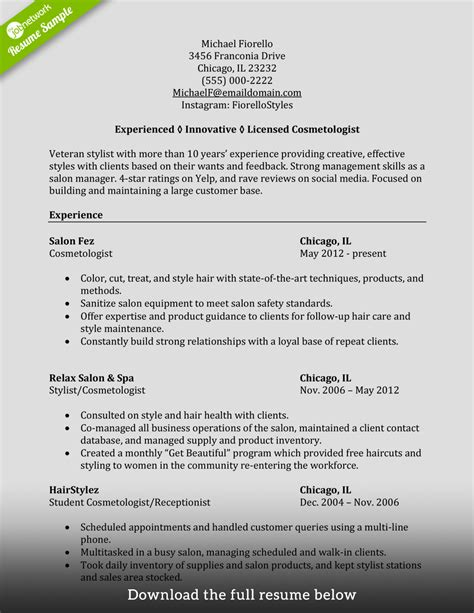cosmetologist resume how to write a cosmetology resume exles included