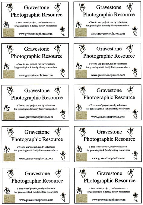 Free Business Card Template A4 by Gravestone Photographic Resource Project Downloads