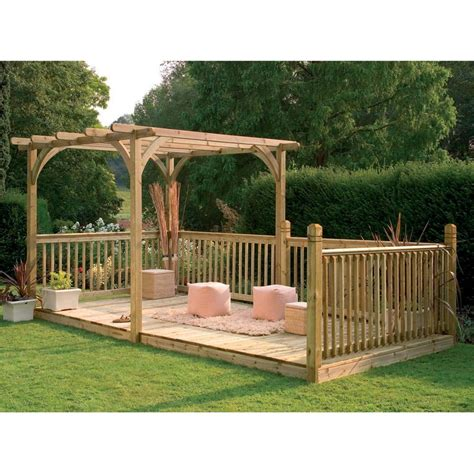 backyard pergola kits 16 x 8 2 quot ft 4 9 x 2 5m wooden garden pergola and patio decking kit with handrails