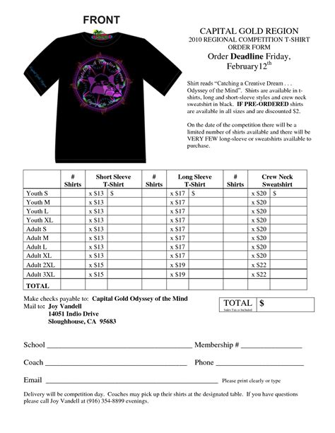 shirt order form template best photos of t shirt order form excel sle t shirt