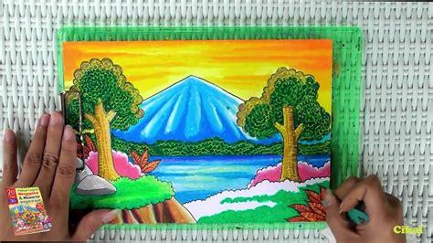 tutorial gambar ilustrasi gambar menggambar pantai krayon pemula pemandangan alam