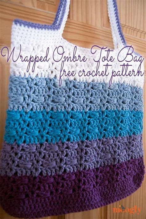 free tote bag pattern pinterest wrapped ombre tote bag free crochet pattern from moogly