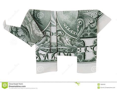 Elephant Origami Dollar - one dollar origami elephant stock photo image 7885630