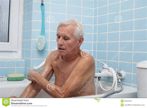 old man bathroom senior man bathing stock photo image of clean care