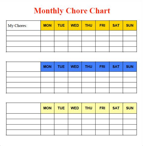 sle chore chart 9 documents in word excel pdf