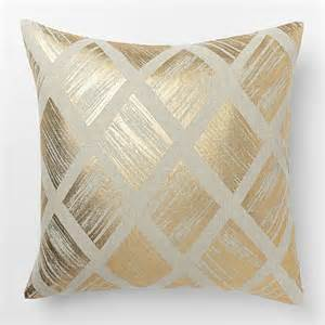 Polka Dot Kitchen Accessories - metallic diamond pillow cover gold contemporary decorative pillows by west elm