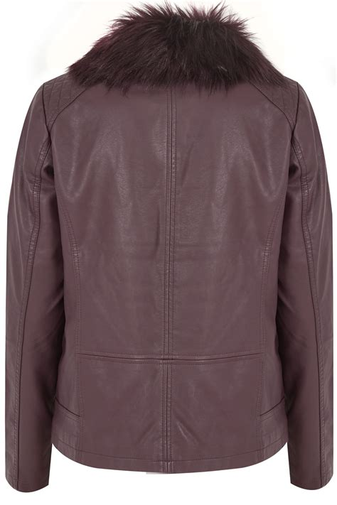 Napoclean Strong By Nry Fashion purple pu leather look biker jacket with faux fur collar