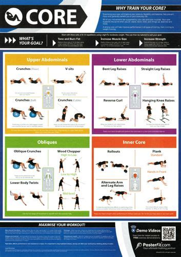 workout professional fitness wall chart poster w qr code posterfit fitness