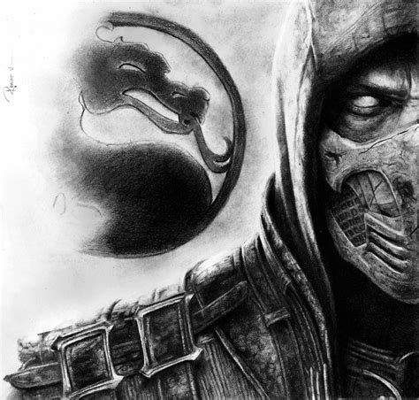 imagenes de mortal kombat para dibujar a lapiz scorpion mk x por reniervivas dibujando
