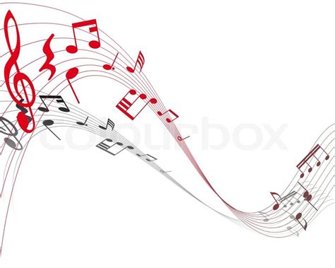 Home Design Quarter Contact Details by Musical Note Staff On The Red Background Stock Vector