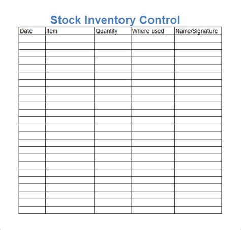 inventory stock card template 10 stock inventory templates sle templates