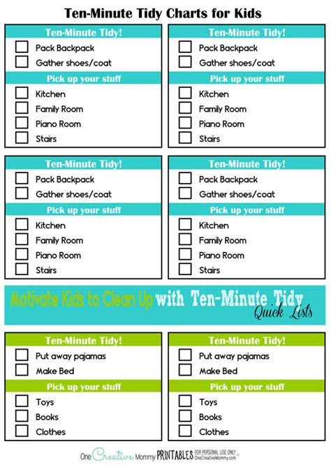 Things You Need For Your Bedroom Printable Ten Minute Tidy Charts Onecreativemommy Com