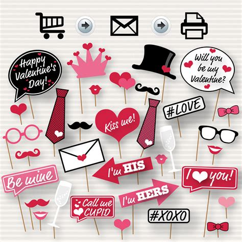 valentines day props s day printable photo booth props