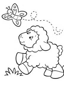 color sheep baby sheep chasing butterfly coloring pages sheep
