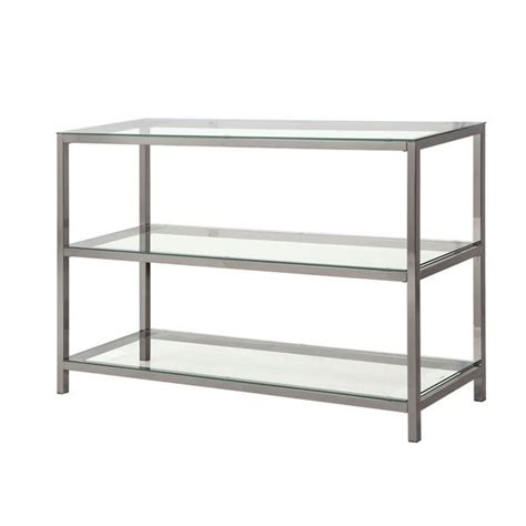 metal and glass sofa table coster metal and glass sofa table in black nickel 720229