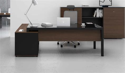 5 ft office desk stylish office with black glass top boss s cabin