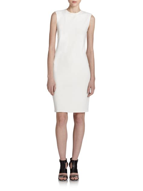 ponte knit dresses vince ponte knit sheath dress in white lyst