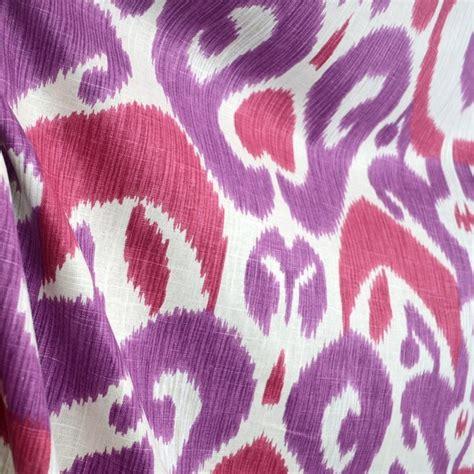 bold upholstery fabric big bold begonia purple ikat real linen damask fabric