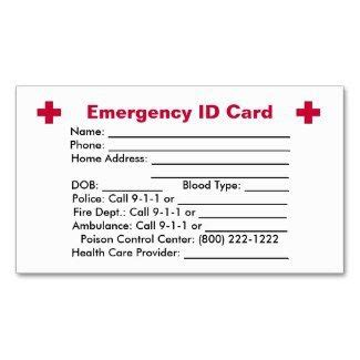 printable emergency card template 26 best images about dyi id cards you can put