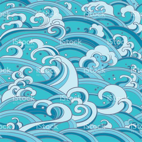 seamless pattern with water waves and splashes stock