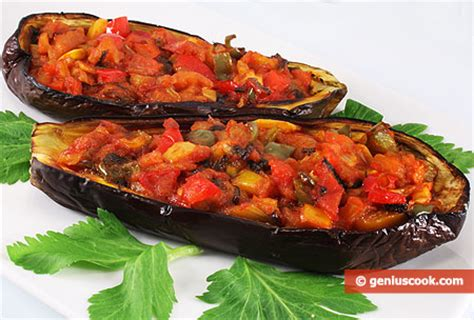 eggplant boats how to make baked eggplant boats with vegetables dietary