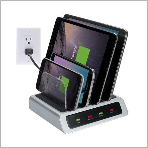 home charging station vision elite 4 port usb visual charge charging station silver black at 805 the home depot