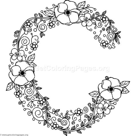Letter C Coloring Pages For Adults by This Free Floral Alphabet Letter C Coloring Pages