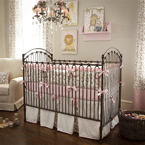 girl baby bedding pink and taupe leopard crib bedding baby bedding in leopard print carousel designs