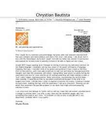 Home Travel Cover Letter by Chrystian Bautista Cover Letter 2015 Home Depot