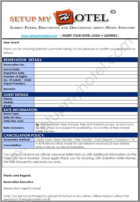 Hotel Booking Cancellation Letter Format reservation confirmation letter for hotel bookings