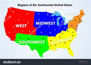 us map by 5 regions 12 continental united states vector images continental