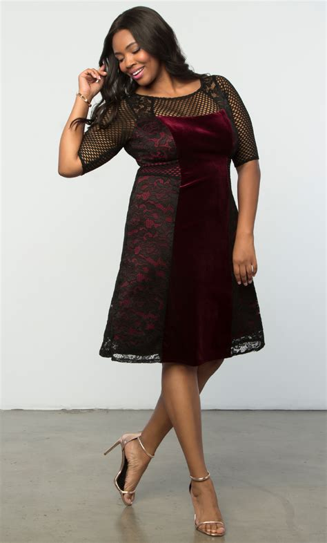 dressing beautifully for dinner plus size velvet dress mixed lace cocktail dress