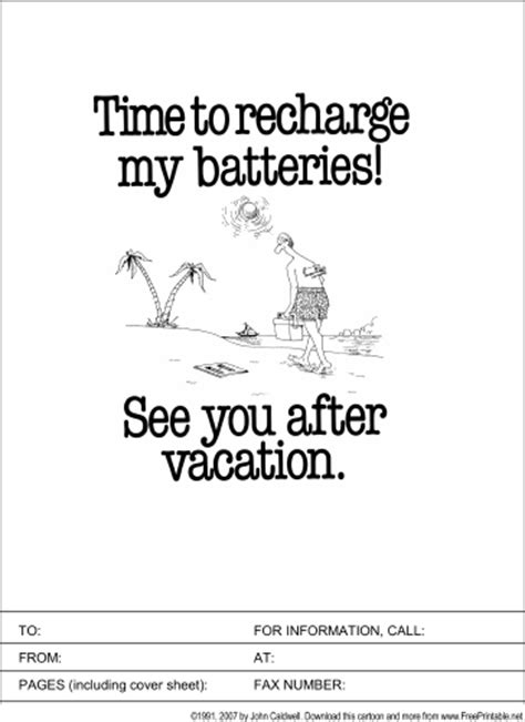 going on vacation fax cover sheet