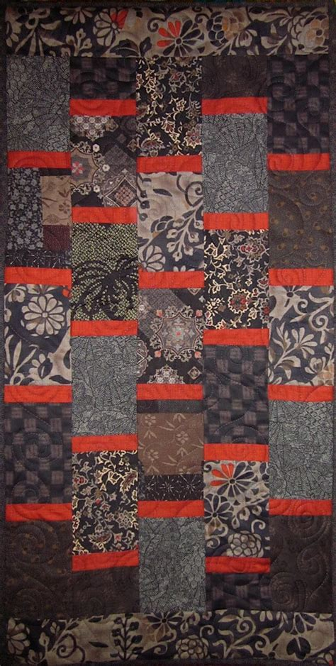 Black Patchwork Quilt - patchwork quilt black and japanese bars wall hanging