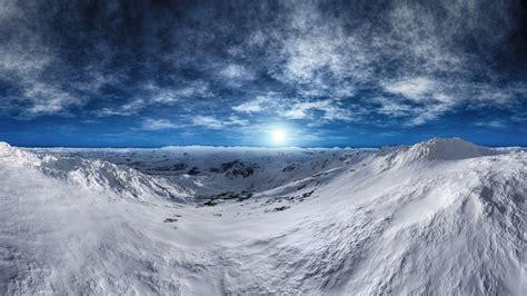 wallpaper thundra arctic mountains snow winter sunny