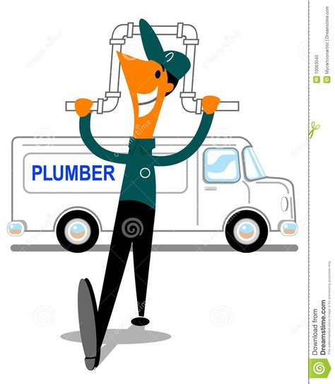 Happy Pipes Plumbing by Happy Plumber With Pipe And Stock Photo Image 10063040