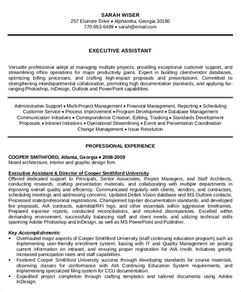 Executive Assistant Resume Template Word by Executive Administrative Assistant Resume 10 Free Word