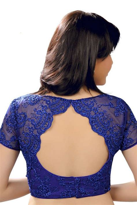 Neck Pattern Blouse Design | indigo blue designer wear raw silk lace blouse with