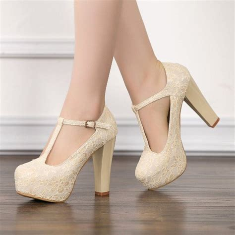 ivory lace heels t wedding shoes chunky heel pumps
