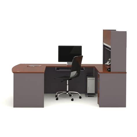 bestar u shaped desk bestar connexion u shaped workstation with 1 pedestal in bordeaux 93879 39