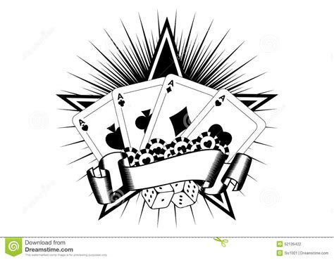 playing cards dice chips stock vector image 52139422